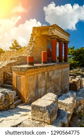 Knossos palace at Crete. Heraklion, Crete, Greece. Detail of ancient ruins of famous Minoan palace