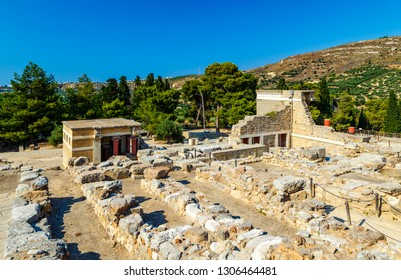 Knossos palace at Crete. Knossos Palace is the largest Bronze Age archaeological site on Crete and the ceremonial and political centre of Minoan civilization