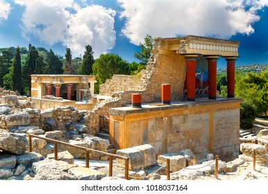 Knossos palace at Crete. Knossos Palace ruins. Heraklion, Crete, Greece. Detail of ancient ruins of famous Minoan palace of Knossos.