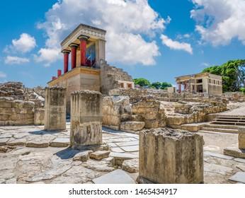 Knossos palace ruins at Crete island, Greece. Famous Minoan palace of Knossos.