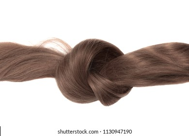 Knot of brown hair, isolated on white