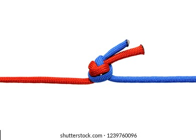 Knot  on a cord isolated on a white background .