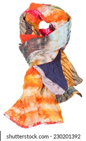 knot from patchwork and batik scarf isolated on white background