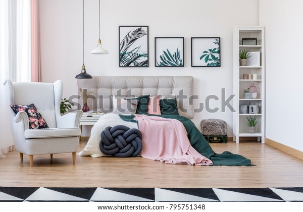 Knot Pillow Near Bed Pink Green Stock Photo Edit Now 795751348
