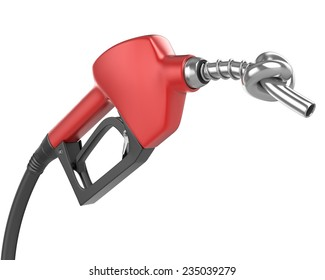 Knotted gas pump nozzle on white isolated background