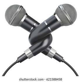Knotted microphones isolated on a white background - 3D illustration