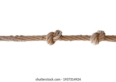 Knotted old nautical rope, close-up. Rope with two knots isolated on white background. Concept for trust, faith, strength or stress.