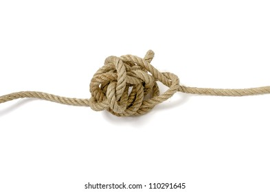 Knotted Rope on White.  knot in my stomach