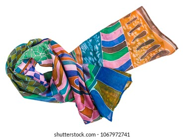 knotted silk scarf painted in cold contour batik technique isolated on white background