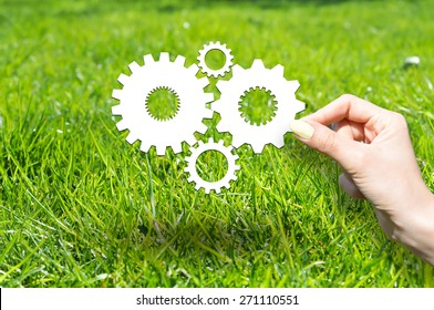 Know how concept with wheels and gears on green grass
