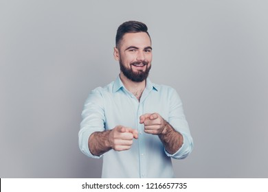 I know you'll come with me! Close up studio photo portrait of confident content candid attractive flirty charming glad cheerful stylish modern guy point at you isolated gray background