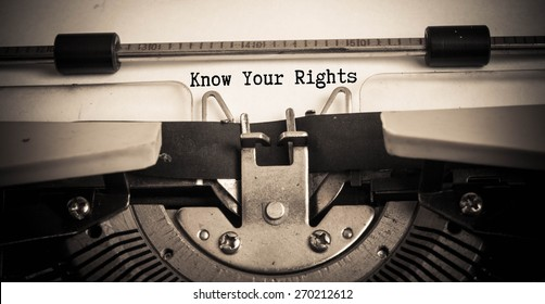 Know Your Rights concept on typewriter
