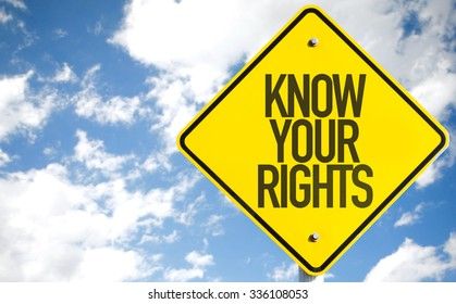 Know Your Rights sign with sky background