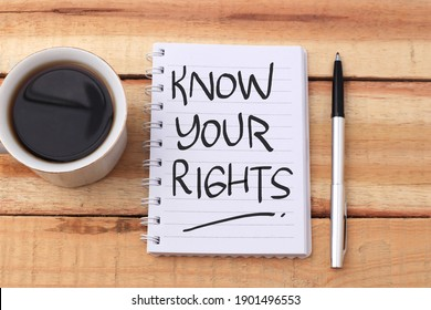 Know your rights, text words typography written on book against wooden background, life and business motivational inspirational concept