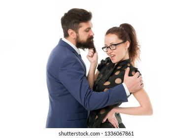 Knowing his dirty secrets. She knows how achieve success. Colleagues man with beard and pretty woman flirting. Office romance and flirt. Play with his heart. Art of flirt. Sexy secretary flirt.