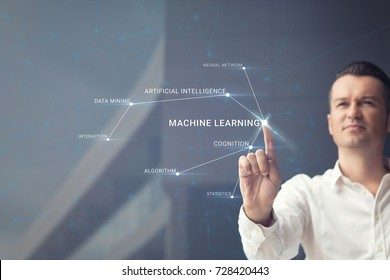 Knowledge of artificial intelligence. Man pressing machine learning sign on virtual touch screen.