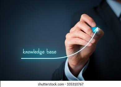Knowledge base improvement concept.  Businessman draw accelerating line of knowledge base volume.