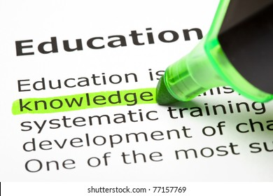 Knowledge highlighted in green, under the heading Education