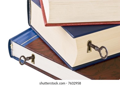 Knowledge is the key to success.  Three hardback books with keyholes and skeleton keys.  Conceptual image for unlocking the power within.  Isolated on white.
