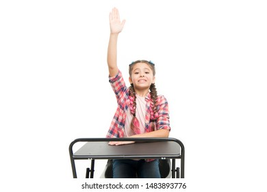 Knowledge is richness. Back to school. Private school concept. Individual schooling. Elementary school education. Enjoy process of studying. Perfect student girl sit desk. She knows all right answers.