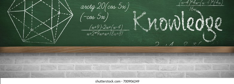 Knowledge text against white background against greenboard on wall in school