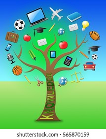 Knowledge Tree With Icons Showing Education Wisdom 3d Illustration