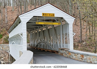 The Knox Covered Bridge in Valley Forge National Historical Park spans Valley Creek in Chester County, Pennsylvania, USA