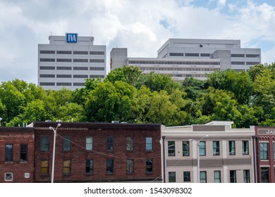 Knoxville, Tennessee - August 18, 2018: TVA Tower, the Tennessee Valley Authority headquarters building, is a prominent feature of the city skyline. TVA was founded in 1933.
