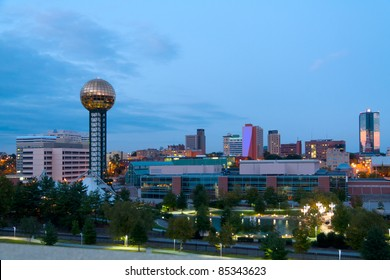 Knoxville, Tennessee at dusk