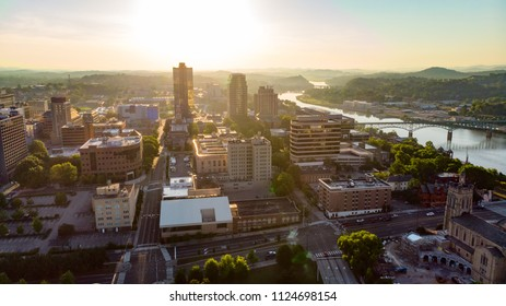 Knoxville Tennessee early morning warm sunlight over the city skyline