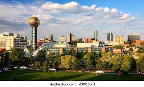 KNOXVILLE, TENNESSEE - JULY 1st: Downtown city skyline including Worlds Fair Park in Knoxville, Tennessee on July 1st, 2016.