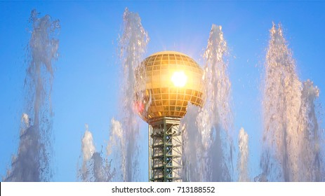 KNOXVILLE, TENNESSEE - JULY 1st: Water fountain and Sunsphere at Worlds Fair Park in Knoxville, Tennessee on July 1st, 2016.