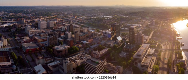 Knoxville Tennessee in the morning with the sun streaming over the river
