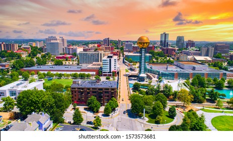 Knoxville, Tennessee, TN Downtown Drone Skyline Aerial.