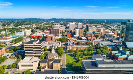 Knoxville, Tennessee, TN Downtown Skyline Aerial.