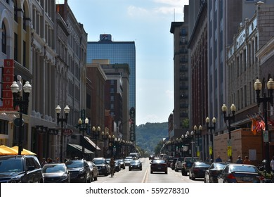 KNOXVILLE, TN - OCT 4: Market Square in Knoxville, Tennessee, as seen on Oct 4, 2016. Market Square was listed on the National Register of Historic Places in 1984.