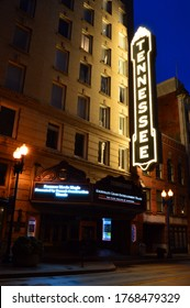 Knoxville, TN, USA April 11, 2017 The Tennessee Theater marquee is illuminated at night in Knoxville, Tennessee