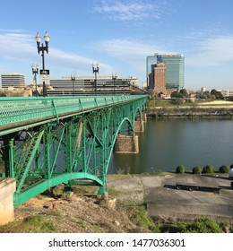 Knoxville, TN, USA April 12, 2018 The Gay Street Bridge crosses the Tennessee River and delivers traffic into downtown Knoxville, Tennessee