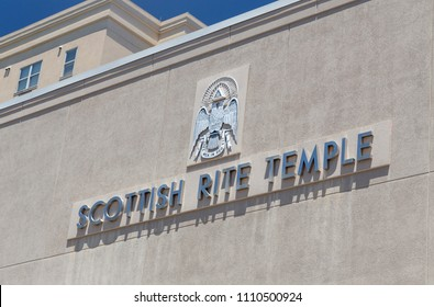 KNOXVILLE, TN/USA - JUNE 4, 2018: Scottish Rite Temple exterior and logo. The Scottish Rite is a fraternal organization and part of Free Masonry.