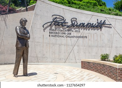 KNOXVILLE, TN/USA JUNE 4, 2018: Pat Summitt statue and memorial on the the campus of the University of Tennessee.