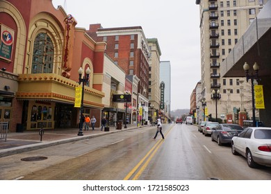 Knoxville USA - 16 February 2015 : Downtown Knoxville street scene
