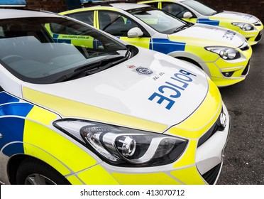 KNUTSFORD, CHESHIRE - FEB 2: Exterior view of cars parked at Knutsford police station on Feb 2nd, 2016 in Cheshire, UK. Served by the Cheshire constabulary.