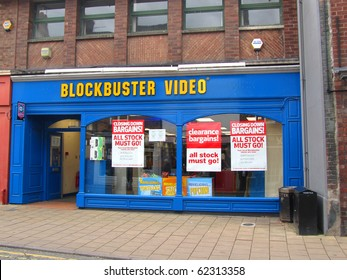 KNUTSFORD, ENGLAND - SEPTEMBER 18: Closing Down Sale at Blockbuster Video September 18, 2010 in Knutsford, England. Photo illustrates recession hitting the UK economy, even in this affluent area.