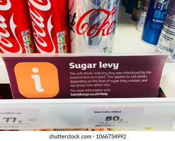 KNUTSFORD, UK - APRIL 11, 2018: Sign showing the governments new sugar tax levy in Sainsbury's supermarket, Knutsford, Cheshire, UK