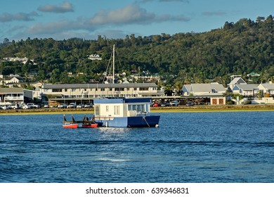 KNYSNA, SOUTH AFRICA - CIRCA NOVEMBER 2016: Boat moored in Knysna Lagoon