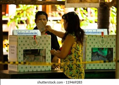 KO CHANG, THAILAND - NOVEMBER 18: Unidentified participants at local Ko Chang Elections, Nov 18, 2012 on Ko Chang island, Thailand. Elections have their own district councils and Mayor, 4 years cycle.
