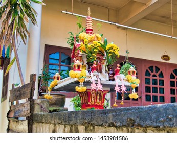 Ko Kret, Thailand-November 2, 2018: Spirit Houses and Shrines are everywhere on the roads, houses and pathways In Thailand
