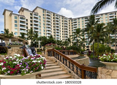 KO OLINA, HAWAII - JULY 26, 2013: The Mariott Beach Club pictured on July 26, 2013 is a luxury resort in Hawaii.  The Ko Olina area in west Oahu is home to many luxury accommodations.