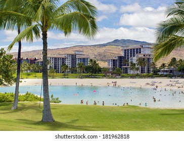 KO OLINA, HAWAII - JULY 26, 2013: The Honu Lagoon pictured on July 26, 2013 The Ko Olina area in west Oahu is home to many luxury accommodations and beautiful lagoons.