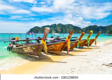 Ko Phi Phi Don, Thailand - November, 24, 2017 - Beautiful long tail boats in Long Beach, the traditional and native watercraft of Southeast Asia.